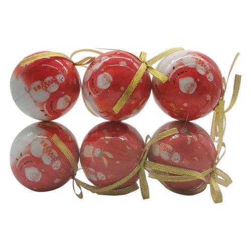 Set de 6 bolas de navidad 8 cm