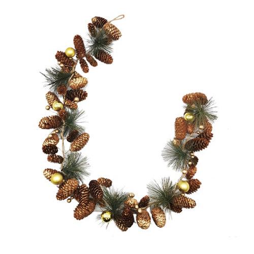 Guirnalda navideña piñas dorado 100 cm