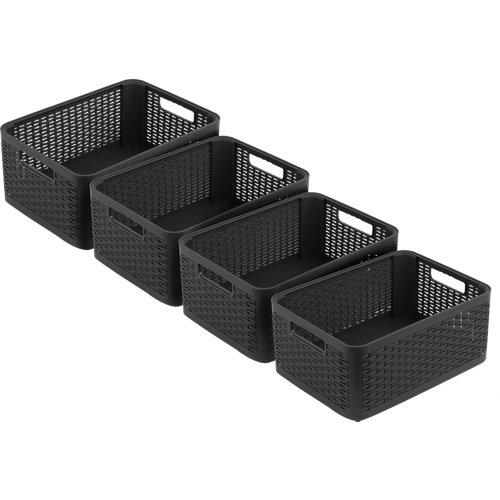Set 4 cestos con asas cottage gris 7l