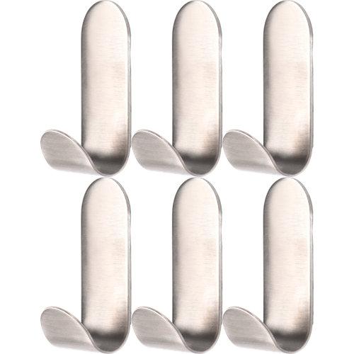 Lote 6 perchas de baño adhesivas de acero inoxidable sensea basic plata satinado