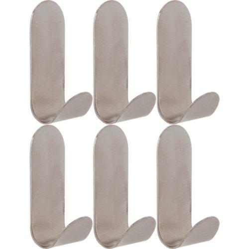Lote 6 perchas de baño adhesivas de acero inoxidable sensea basic cromo