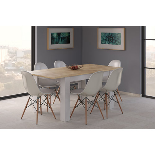 Mesa de comedor extensible kendra blanco artik y roble canadian