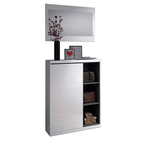 Recibidor adhara con espejo y 1 zapatero blanco brillo y gris ceniza 108x79x25cm