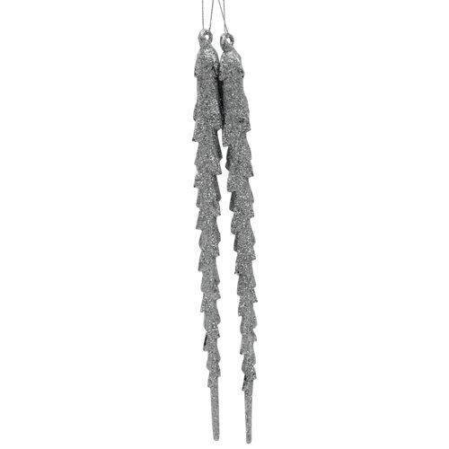 Set de 2 colgantes carámbano 18,5 cm plata