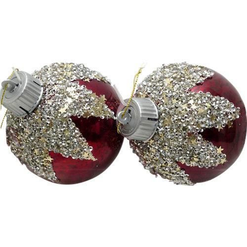 Set de 2 bolas de navidad 8 cm