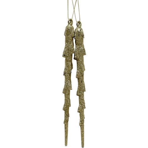 Set de 2 adornos carámbanos 18,5 cm oro