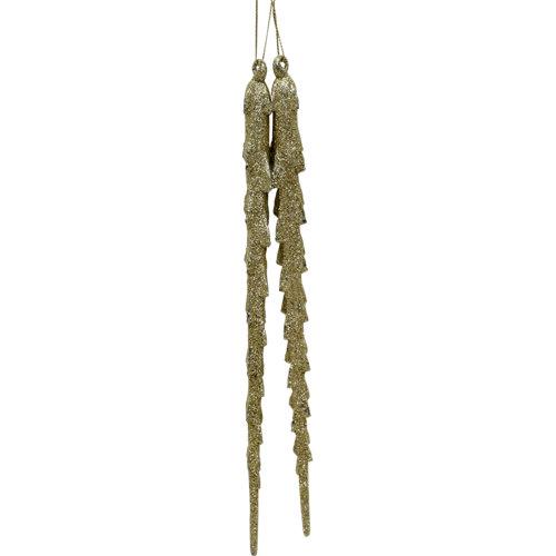Set de 2 adornos carámbanos 28,5 cm oro