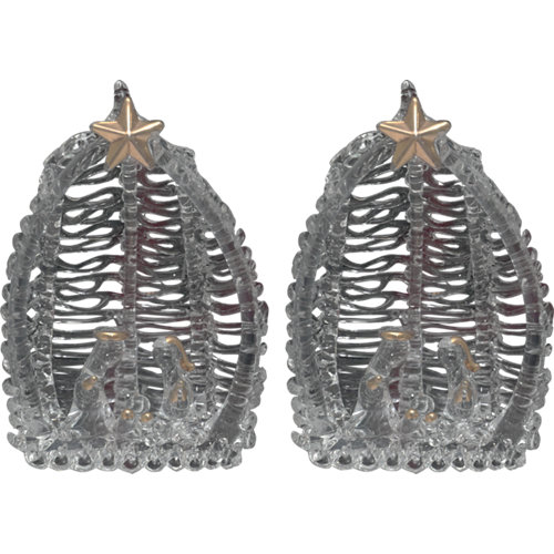 Set de 2 colgantes xmas 8 cm clear