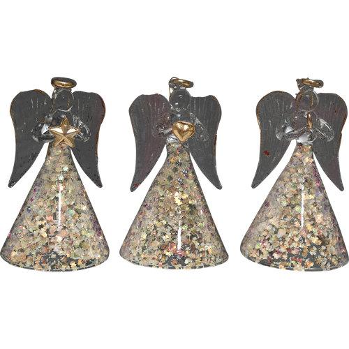 Set de 3 colgantes ángeles 8 cm colourful