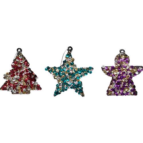 Set de 3 colgantes ornamentos 6 cm colourful