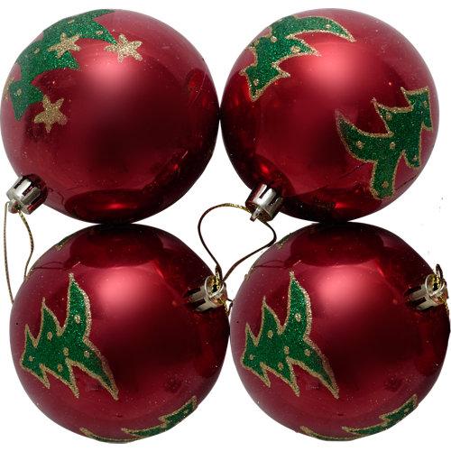 Set de 4 bolas de navidad 8 cm