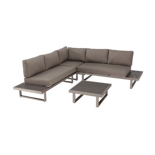 Conjunto de porche corner aluminio y pollywood albany 5 personas