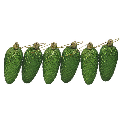 Set de 6 colgantes piñas 8 cm verde