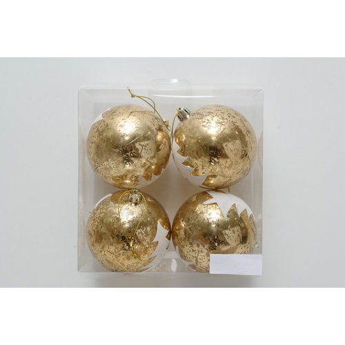 Set de 4 bolas de navidad 8 cm doradas