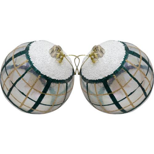 Set de 2 bolas de navidad 8 cm transparente