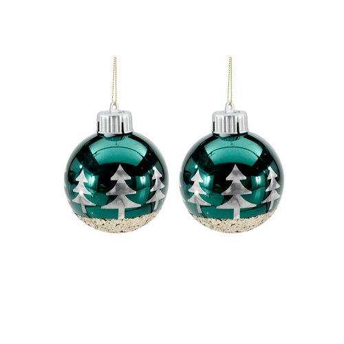 Set de 2 bolas de navidad con luz 8 cm verde