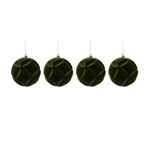 Set de 4 bolas de navidad 8 cm verde