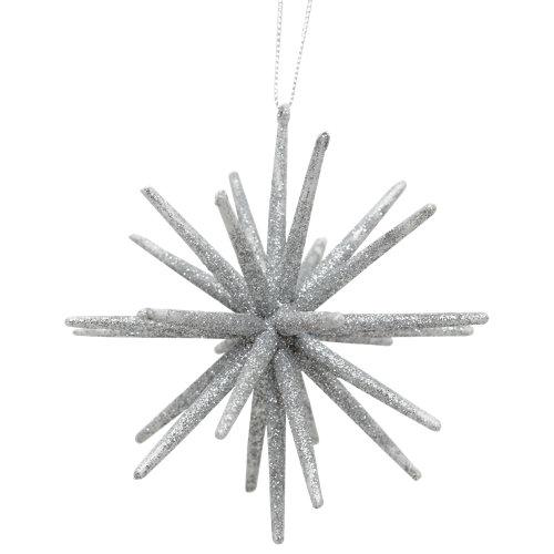 Adorno colgante estrella 10 cm plata