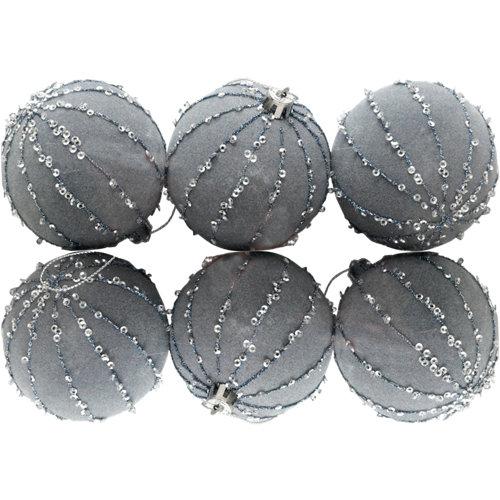 Set de 7 bolas de navidad 7 cm azul
