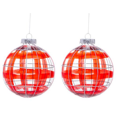 Set 2 bolas de navidad rojo 10 cm