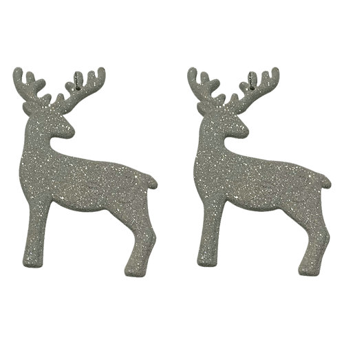 Set de 2 colgantes renos brillo blanco 13 cm