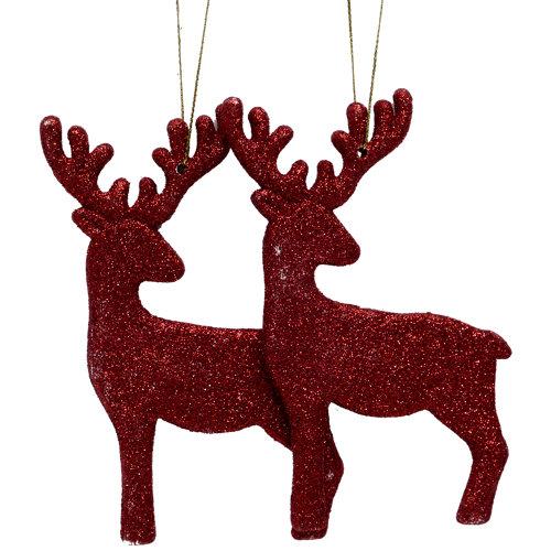 Set de 2 colgantes renos brillo rojo 13 cm