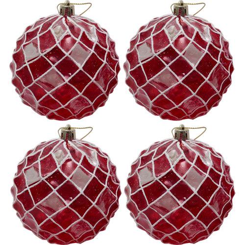 Set de 4 bolas de navidad rojo 8 cm