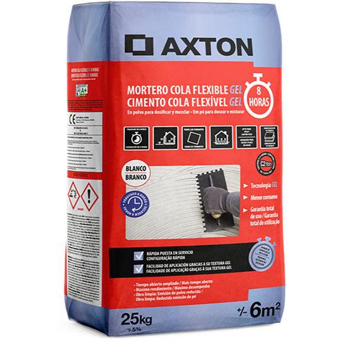 Mortero cola flexible gel 8 horas 25kg axton