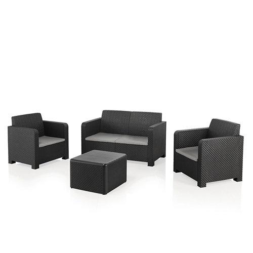 Set de sofás y mesa baja naterial novo de resina para 4 personas