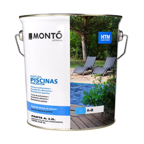 Pintura de piscinas prefabricadas de fibra de color azul montó - 4l
