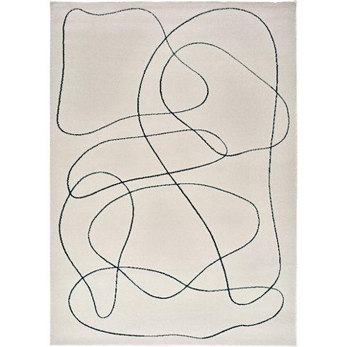 Alfombra de interior blanca polipropileno sherry abstracto 60 x 110cm