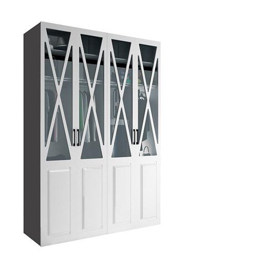 Armario spaceo home manila blanco abatible interior gris 240x160x60cm