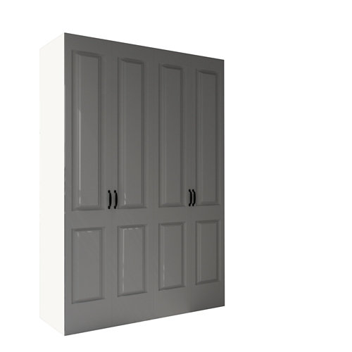 Armario spaceo home marsella gris oscuro abatible interior blanco 240x160x60cm