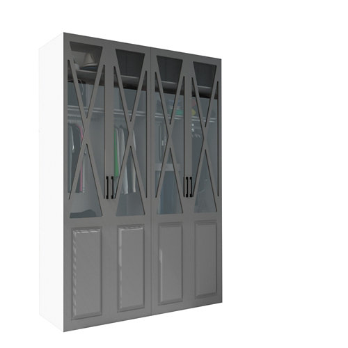 Armario spaceo home manila gris oscuro abatible interior blanco 240x160x60cm