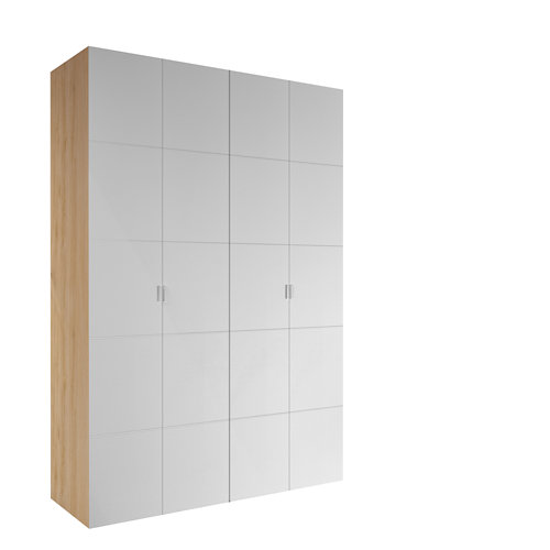 Armario spaceo home lucerna blanco abatible interior roble 240x160x60cm