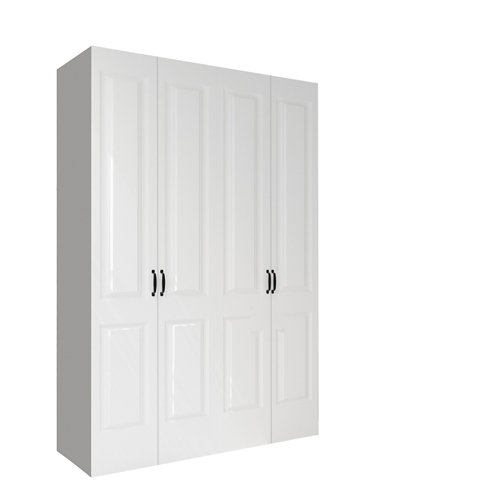 Armario spaceo home marsella blanco abatible interior textil 240x160x60cm