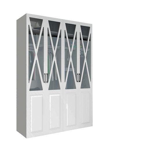 Armario spaceo home manila blanco abatible interior textil 240x160x60cm