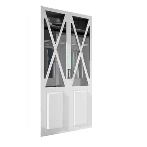 Armario spaceo home manila blanco abatible interior blanco 240x120x60cm