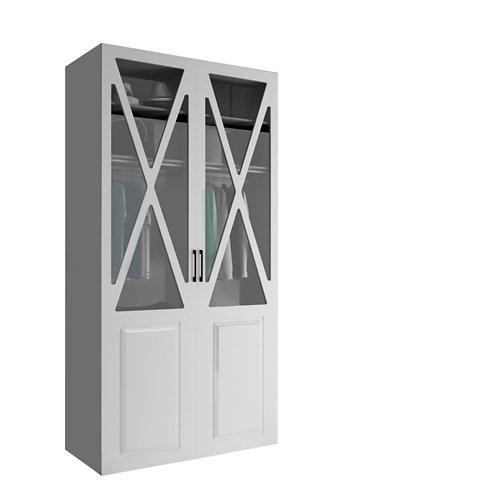 Armario spaceo home manila blanco abatible interior gris 240x120x60cm