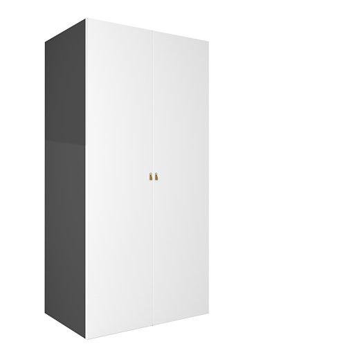 Armario spaceo home macao blanco abatible interior gris 240x120x60cm