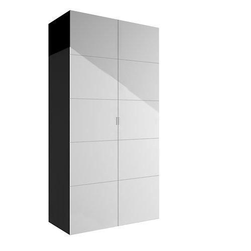 Armario spaceo home lucerna blanco abatible interior gris 240x120x60cm