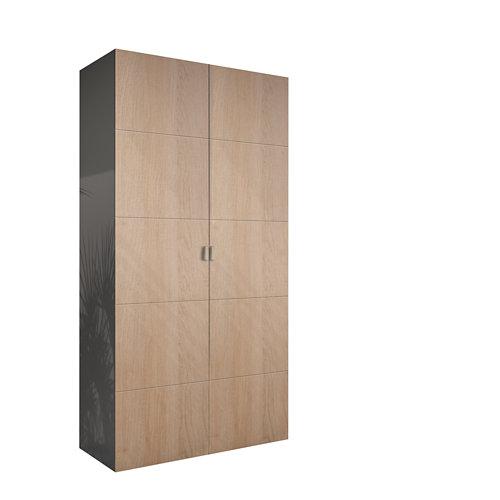 Armario spaceo home lucerna roble abatible interior gris 240x120x60cm