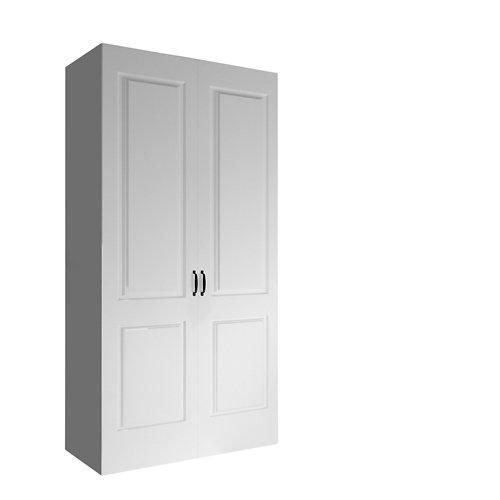 Armario spaceo home marsella blanco abatible interior gris 240x120x60cm