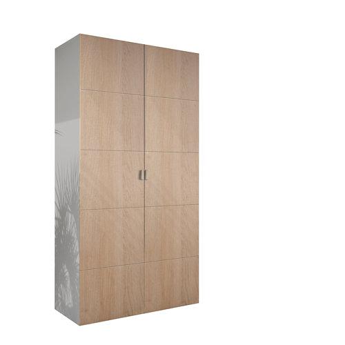 Armario spaceo home lucerna roble abatible interior textil 240x120x60cm