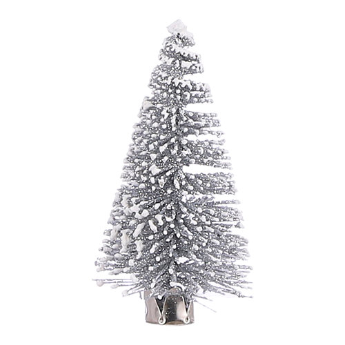 Adorno clip árbol 9 cm plata