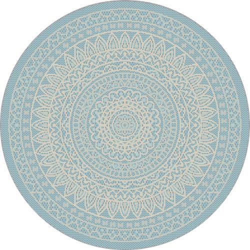 Alfombra de interior y exterior azul polipropileno vejer 120 x 120cm