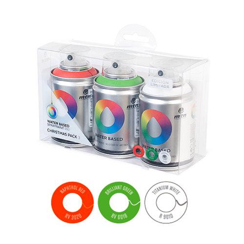 Pack 3 spray pintura montana wb 100 (rojo-verde-blanco)