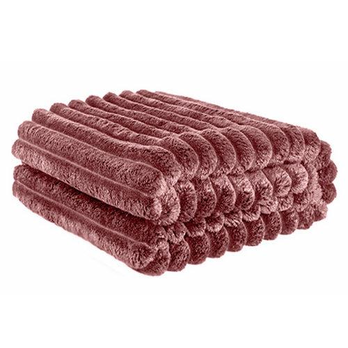 Manta cotele rosa 100 % poliéster de 170x130 cm