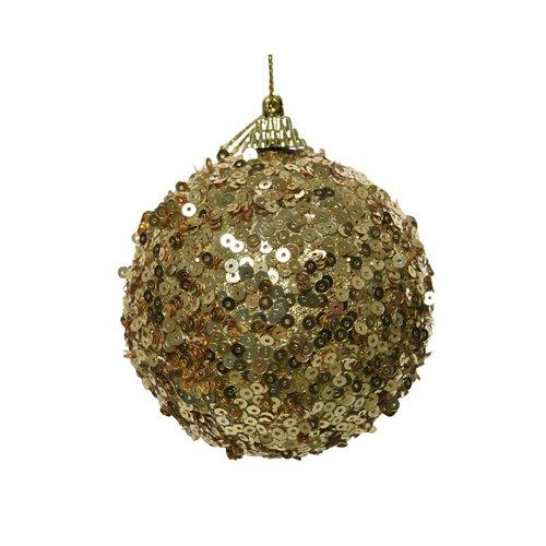 Bola de navidad espuma con lentejuelas 8 cm dorado
