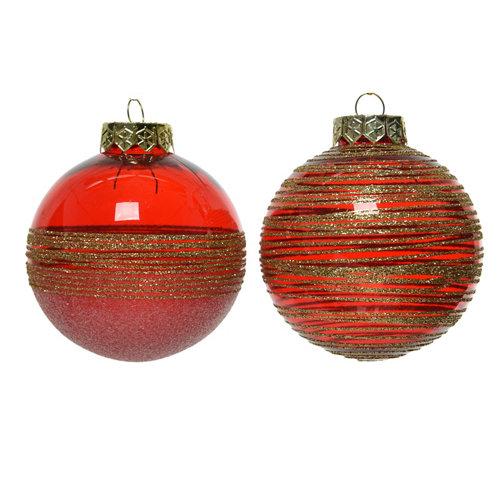 Bola de navidad plástica con brillo 8 cm